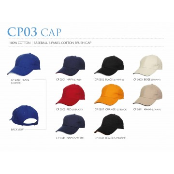 CP03 series 6 Panel Cotton Brush Cap with Colored Sandwich Trim