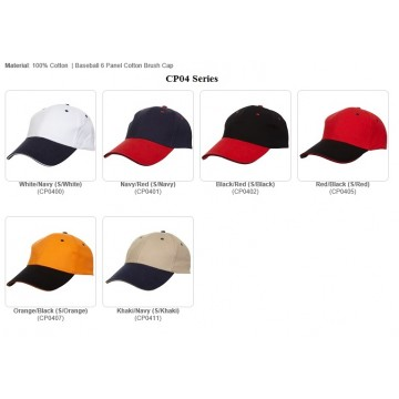 CP04 series 6 Panel Cotton Brush Cap