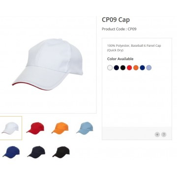 CP09 series Polyester 6 Panel Quick Dry Cap