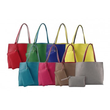 Customized 2-Tones PU Handbag set