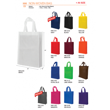 NW01xx A4 Non Woven Bag - Fully Stitched