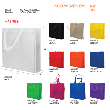 NW05xx A3 Non Woven Bag 90gsm - Fully Stitched