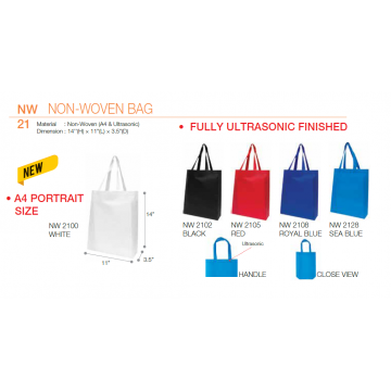 NW21xx A4 Non Woven Bag - Ultrasonic Finished