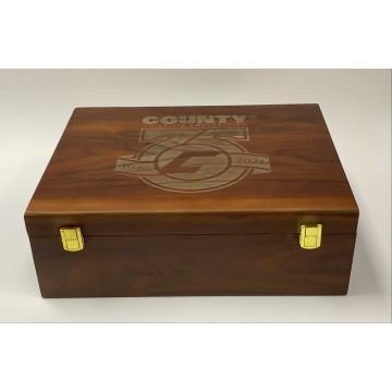 Customized Whiskey Wooden Box Glasses And Coaster Set