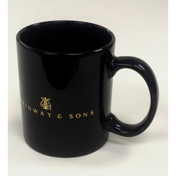 12oz Black Mug with Shiny Gold Heat Transfer