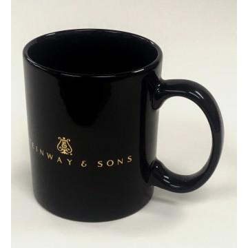 12oz Black Mug with Shiny Gold Heat Transfer