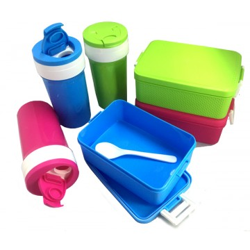 Code 181 Plastic Lunch Box with Water Bottle and Spoon Set