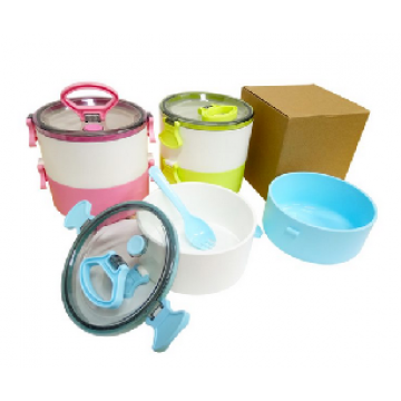 Code 410 2-Tier Lunch Box with 2-in-1 fork and spoon