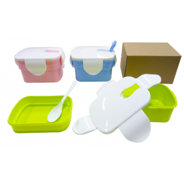 Code 411 2-Tier Rectangular Lunch Box with Spoon