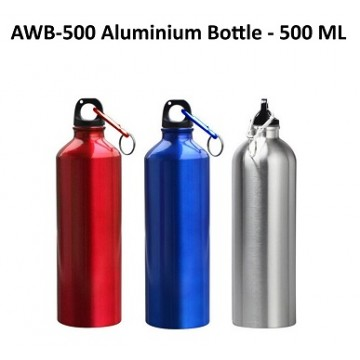 AWB-500 Aluminium Bottle with Carabiner (Metallic Colors)