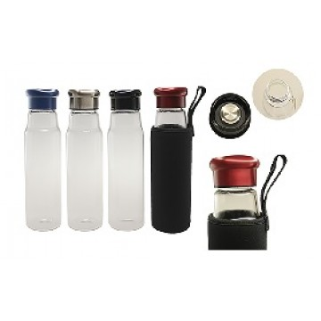 GB-3356 550ml Glass Bottle with black neoprene pouch