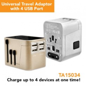 TA15034 Travel Adaptor with 4 USB Port