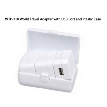 WTP-310 World Travel Adapter with 1 USB Port and Plastic Casing