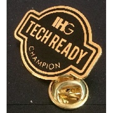 Gold Plated Metal etching with one color fill die-cut shape collar pin