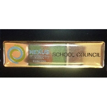 Name Badge Shiny Background Color Filled Etching with Epoxy