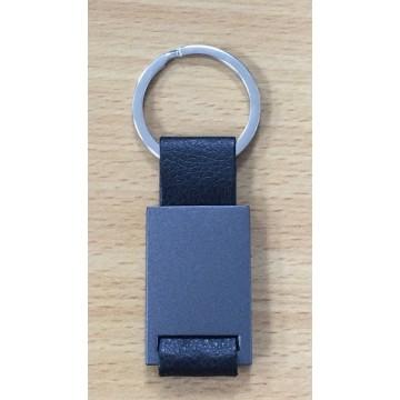 Gun Metal with PU Leather  Keychain