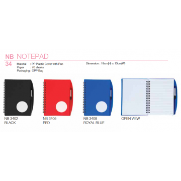 NB34xx PP Plastic Cover Notepad with Pen