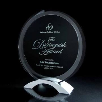 GA14 Round Black Clear Glass Award