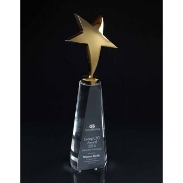 SC1 Gold Star on Crystal Cone Crystal Award