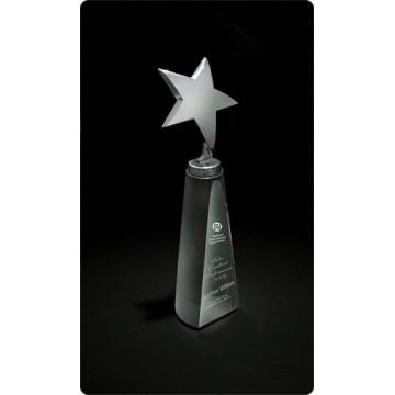 SC2 Silver Star on Crystal Cone Crystal Award