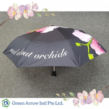 Customized Orchid Umbrellas with Flower Printing All Over - Black