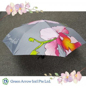 Customized Orchid Umbrellas with Flower Printing All Over - Grey
